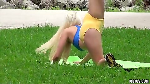 Flexible Macy Lee doing her morning stretching in tight hotpants