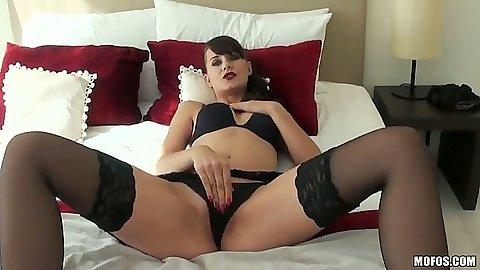 Solo bras and panties masturbation with brunette Leda