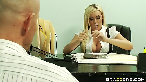 Big tits blonde Monroe takes off her shirt and shows tits