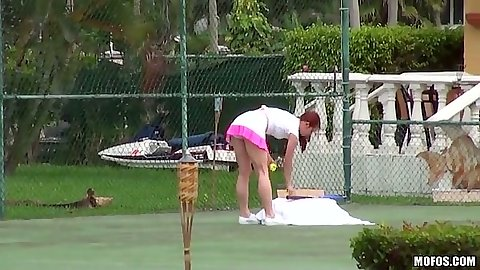 Tennis amateur sporty chick Melody Jordan wearing sexy skirt on court