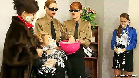 Tatiana Milovani and Lucy Bell lesbian fetish group food fuck