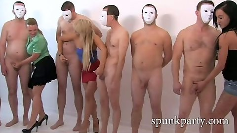 Cfnm group amateur handjobs for masked men