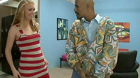 Blonde comes in for big dick interracial action