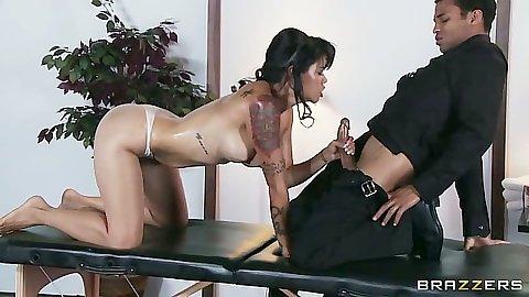 Oiled up asian milf Dana Vespoli sucking masseuse cock