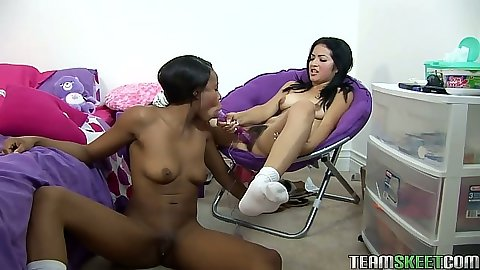 Nina and Andrea sucking their dildos and double sided dildo lesbian sex