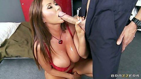 Asian milf Kianna Dior blowjob in her bra and shows nipples