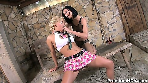 Lesbian milfs Aliz and Britney making out and licking each other