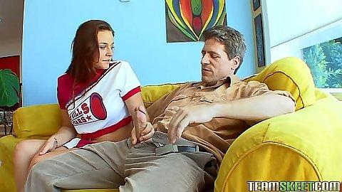 Cheerleader Talia Palmer sucking mans cock from his pants