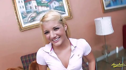 Cute teen Jamie LaMore smiling and getting naked with dildo