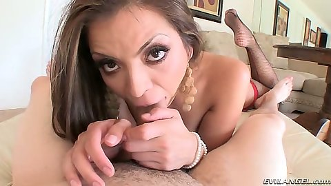 Blowjob with latina Yurizan Beltran in pov for big dick