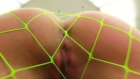 Round ass Lucy Lee A in fishnets crawling on the floor