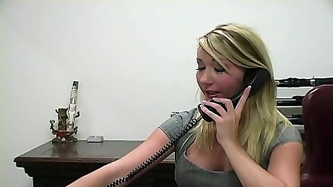 Office worker Missy Woods calls in two cocks for afterhours work