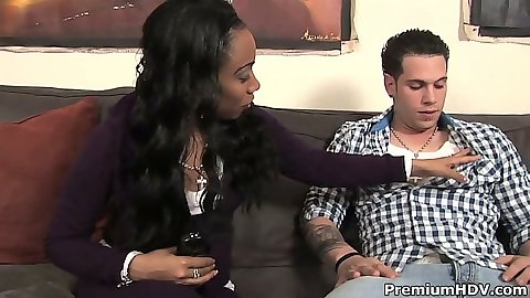 Ebony Kartier goes down and pulls cock from pants to suck