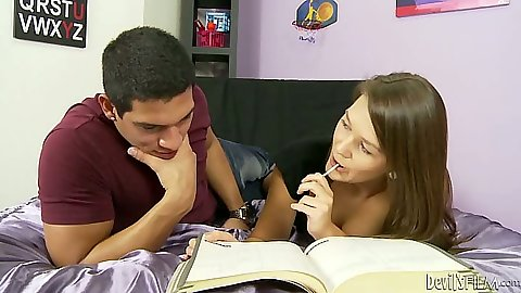Teen Abby Cross doing her homework with a lollipop and making out