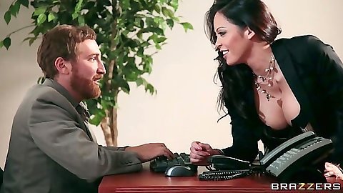 Big tits office asian babe Mia Lelani approaches male