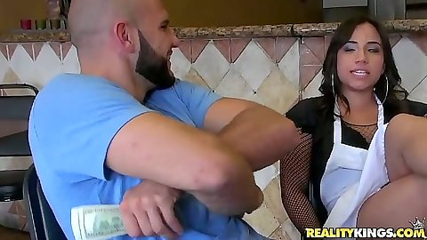 Latina Gabbi Vega picked up at her job as a waitress in the diner