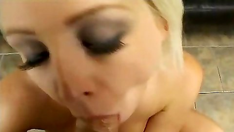 Blowjob from amateur Britney Burke and she touches nipple with dick head