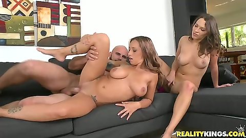 Natural hotties Lily Love and Jasmine Maybach in group shaved pussy sex