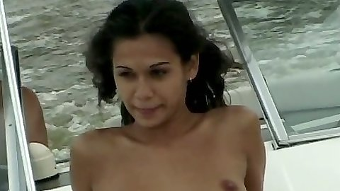 Natural tits Eva Roberts naked on the boat getting fucked