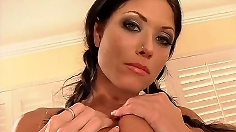 Natural tits Dillan Lauren touching her boobs and spreading ass