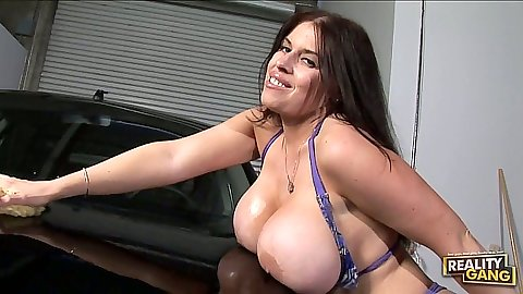 Big tits Daphne Rosen bikini carswash dripping wet and horny
