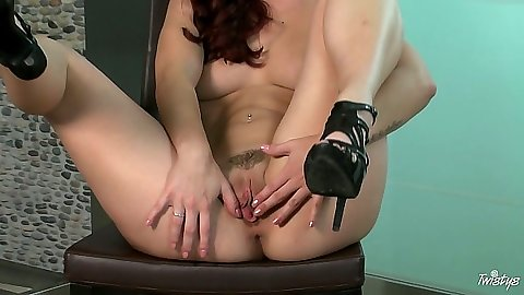 Trimmed pussy Karlie Montana sucks dildo and inserts into her vagina