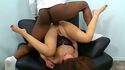 Flexible position during interracial sex from Gina Marie