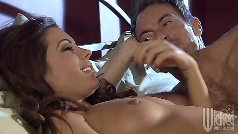 Kirsten Price laying naked in bed and blowjob
