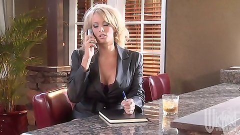 Tanya James milf talking on the phone and making out fully clothed