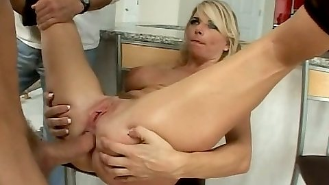 Cheating housewife milf anal fuck on a stool and floor