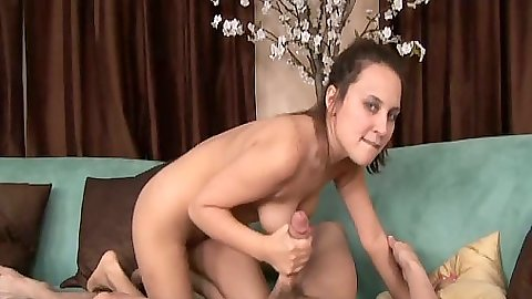 Handjob and big dick blowjob from Sienna Snow with sucking those balls