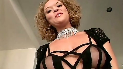 Sexy lingerie Sativa sucking big black cock and dildo fuck