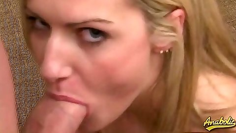 Blowjob from blonde Ashley Long and hardcore cock sitting