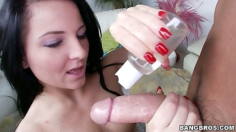 Casey Cumz lubing up cock for juicy handjob