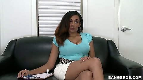 Layla Terrace having an interview during her first sex video audition