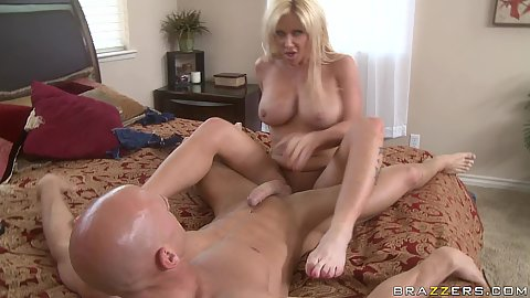 Milf rides Johnny and his super fat cock