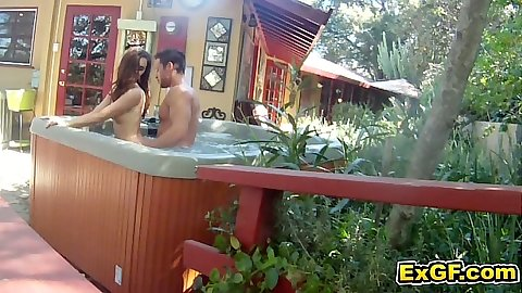 Jacuzzi fun with gf LilyC sucking dick