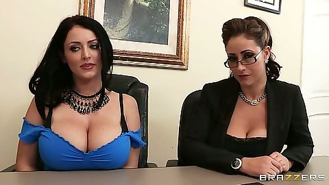 Big tits Sophie Dee and Eva Notty sitting at the office