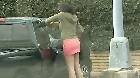 Outdoor public pick up of Vanessa