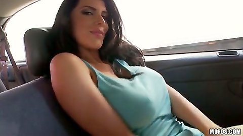 Romi Rain taking a car ride and undressing in backseat