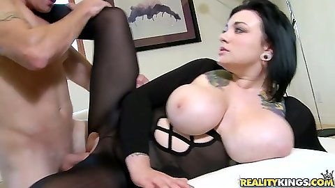 Big natural tits Scarlet LaVey sideways hardcore penetration