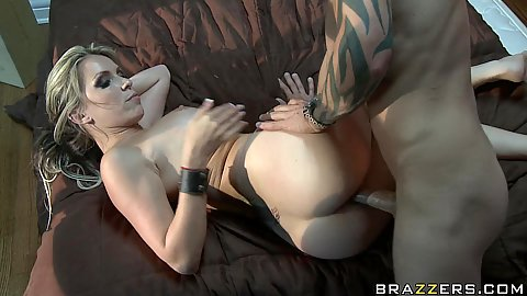 Hot courtney holds on tight during a deep sideways fuck
