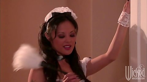 Sexy maid Kaylani Lei seduces and sucks man