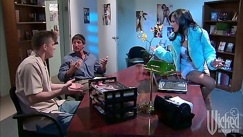 Office time with asian Kaylani Lei