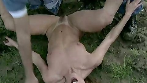 Outdoor group hairy pussy fuck with Alex Jordan