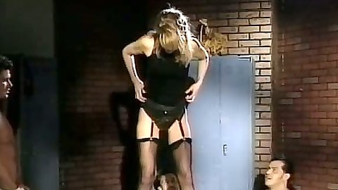 Group fuck with Sharon Kane in stockings stripping