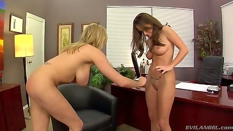 Lizz Tayler and Briana Banks naked lesbians in the office