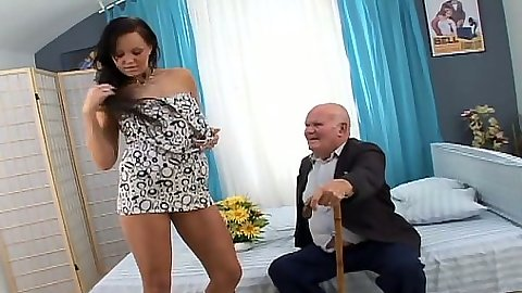 Undressing small tits Eliss Fire blowjob squatting