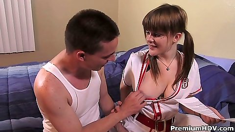 Big tits teen Mariah Mars in uniform blowjob and fingering