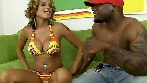 Bikini amateur ebony cutie Alana gets naked